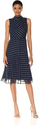 Taylor Dresses Women's Novelty Metallic Dot Chiffon Dress