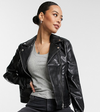 Asos Tall DESIGN Tall ultimate faux leather biker jacket in black