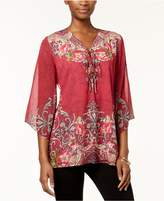 JM Collection Petite Printed Tie-Neck Top, Created for Macy's