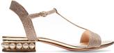 Nicholas Kirkwood Casati pearl-heeled lamé sandals