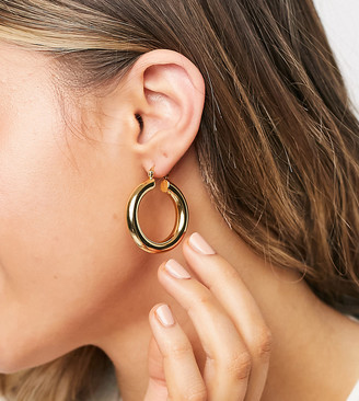ASOS DESIGN 14k gold plate tube hoop earrings in 35mm tube design