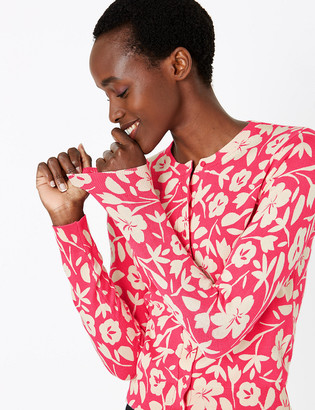 Marks and Spencer Floral Print Crew Neck Cardigan