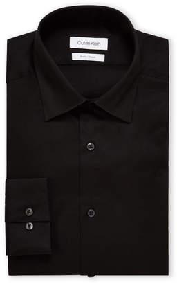 Calvin Klein Black Slim Fit Texture Long Sleeve Dress Shirt