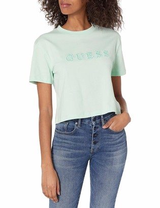 GUESS Women's Active Short Sleeve Embroidered Logo Cropped T-Shirt