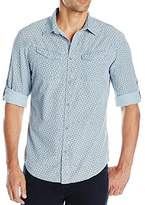 Calvin Klein Jeans Men's Chopstick Print Roll Tab Long Sleeve Button Down Shirt