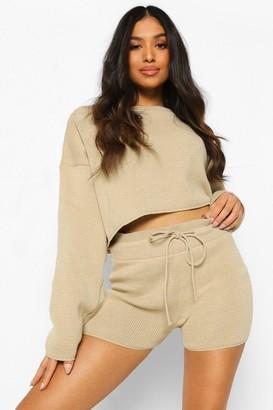 boohoo Petite Knitted Slash Neck Short Co-Ord