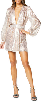 Ramy Brook Amalia Plunging Metallic Cocktail Dress