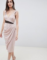Asos Design DESIGN Satin Midi Dress With Contrast Lingerie Lace Inserts