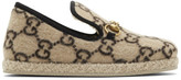 Gucci Beige Wool GG Covered Fria Loafers