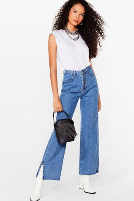 Nasty Gal Womens Button Me Up Relaxed Slit Jeans - Blue - XL