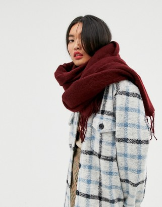 Asos DESIGN supersoft long woven scarf with tassels in burgundy