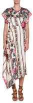 Etro Short-Sleeve Asymmetric Silk Midi Dress, Pink