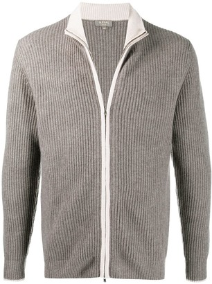 N.Peal Ribbed Zip-Up Cashmere Cardigan