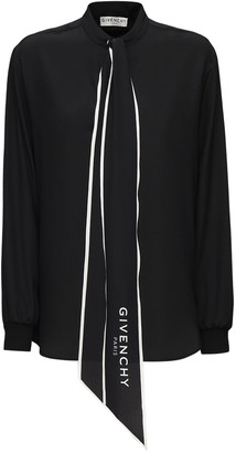 Givenchy Silk Crepe De Chine Shirt W/ Logo Bow