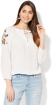 New York & Co. Embroidered & Pleated Tie-Front Blouse