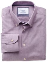 Charles Tyrwhitt Extra Slim Fit Button-Down Collar Business Casual Berry Cotton/wool Dress Shirt Single Cuff Size 16/35