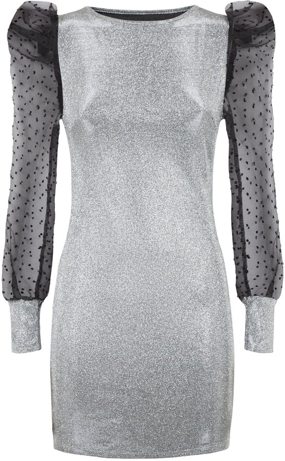 Thumbnail for your product : New Look Urban Bliss Glitter Organza Sleeve Dress