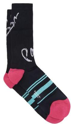 Paul Smith Logo Intarsia Striped Cotton Blend Socks - Mens - Navy Multi