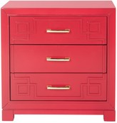 The Well Appointed House Red Three Drawer Greek Key Night Stand