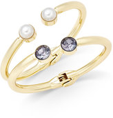 INC International Concepts Gold-Tone Black Crystal Imitation Pearl Hinged 2-Pc. Bangle Bracelet Set, Only at Macy's