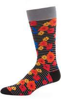 Jared Lang Floral-Print Cotton-Blend Socks