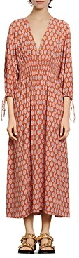 Sandro Roche Abstract Print Midi Dress