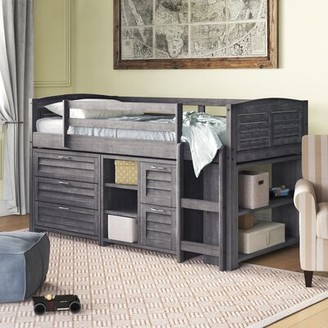 "Birch Laneâ""¢ Heritage Evan Twin Loft Bed with Bookcase and Drawers Birch Lanea Heritage Bed Frame Color: Antique Gray"