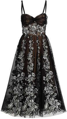 Marchesa Floral-Embroidered Corset Cocktail Dress