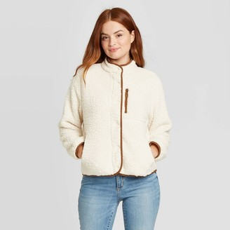 Universal Thread Women's Faux Fur Sherpa Jacket - Universa ThreadTM Cream/Brown
