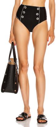 Jonathan Simkhai Piped High Waisted Bikini Bottom in Black | FWRD