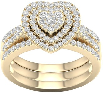De Couer 10k Yellow Gold 3/4ct TDW Heart Shaped Cluster Halo Bridal Set