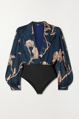 Johanna Ortiz From The Heart Wrap-effect Printed Satin-jacquard Bodysuit - Blue