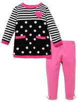 Little Me Baby Girls Two-Piece Polka Dot and Striped Sweater and Leggings Set