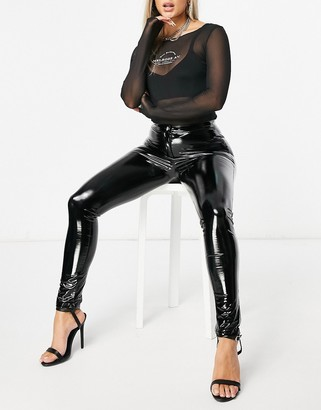 Parisian vinyl button front leggings in black