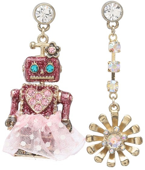 Betsey Johnson Robot Flower Non-Matching Earrings (Pink) - Jewelry