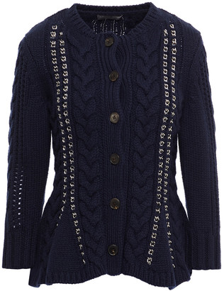 Alexander McQueen Chain-trimmed Cable-knit Cashmere Peplum Cardigan