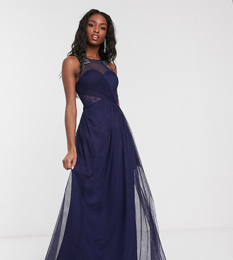 Little Mistress Tall pleat maxi dress with lace and embellishment detail in navy