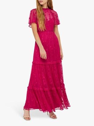Monsoon Billie Embroidered Maxi Dress, Pink