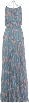 Valentino Open-back Pleated Printed Silk-chifffon Maxi Dress
