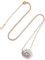 Mizuki Station Solitaire 14-karat Gold, Diamond And Pearl Necklace - one size