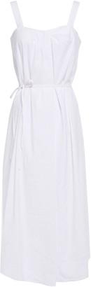 Vince Belted Pleated Linen-blend Midi Dress