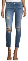 Mother Looker Mid-Rise Distressed Frayed Ankle Jeans