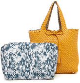 Urban Expressions Woven Reversible Vegan Leather Weekend Tote