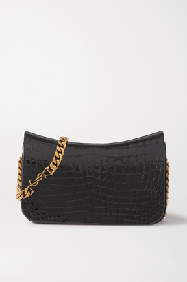 Saint Laurent Elise Croc-effect Glossed-leather Shoulder Bag - Black