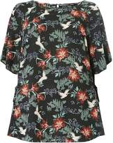 Dorothy Perkins DP Curve Black Oriental Bird Print Tie Top