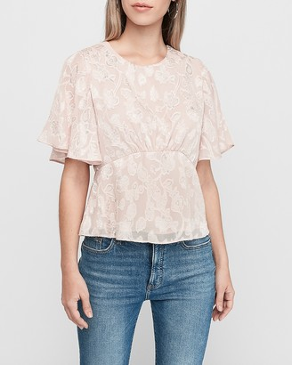 Express Jacquard Cinched Waist Top