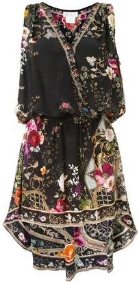 Camilla Floral-Print Asymmetric Silk Dress