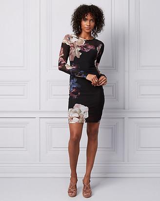 Le Château Floral Print Mesh Illusion Mini Dress