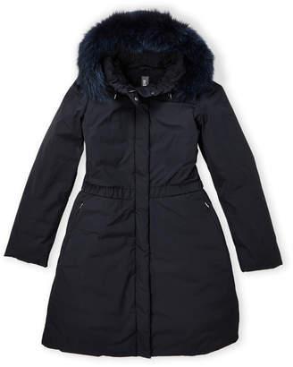 ADD Girls 7-16) Real Fur Hood Down Parka Jacket
