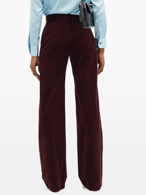 Thumbnail for your product : Bella Freud David High-rise Cotton-corduroy Wide-leg Trousers - Burgundy
